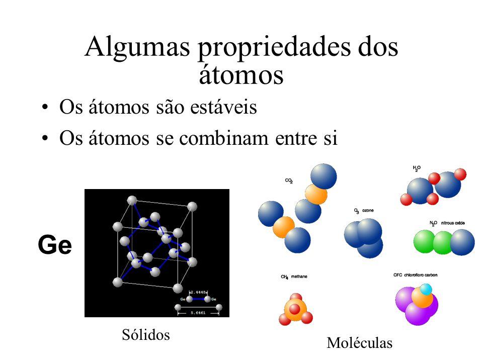Algumas propriedades dos átomos Os átomos são estáveis Os átomos se combinam entre si Ge Moléculas Sólidos