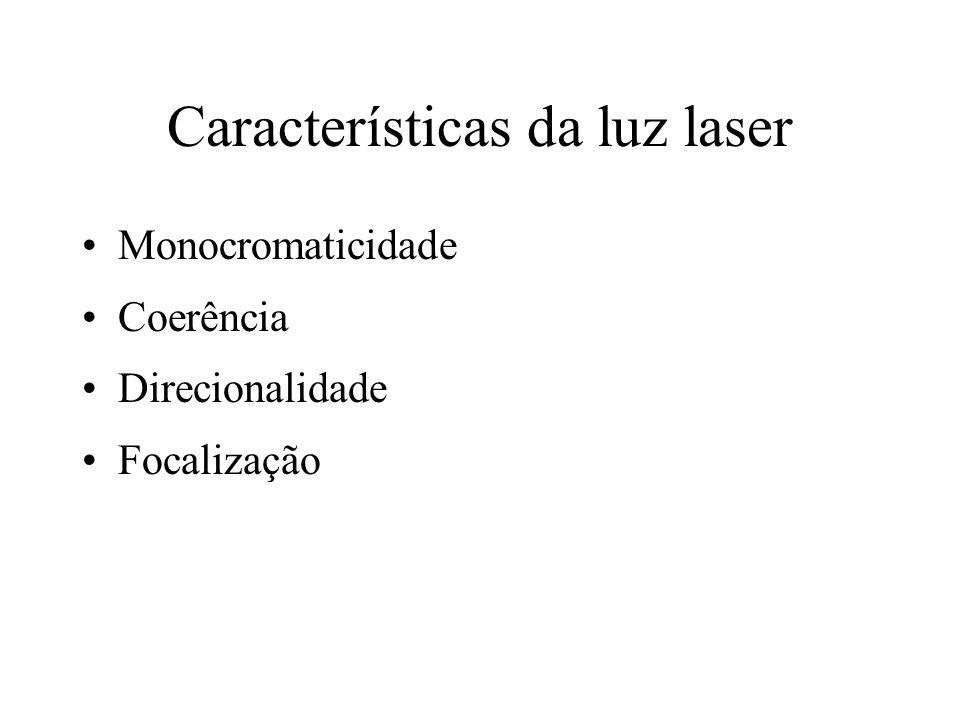 Características da luz laser Monocromaticidade Coerência Direcionalidade Focalização