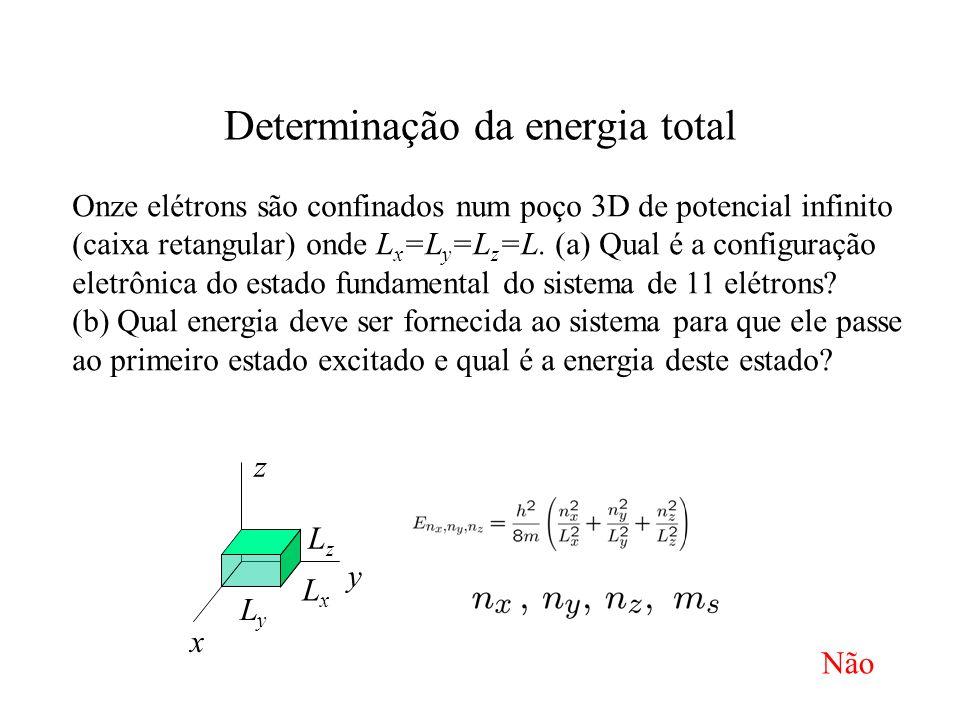Determinação da energia total x y z LyLy LxLx LzLz Onze elétrons são confinados num poço 3D de potencial infinito (caixa retangular) onde L x =L y =L