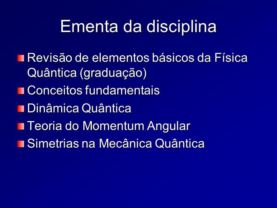 Ementa da disciplina Revisão de elementos básicos da Física Quântica (graduação) Conceitos fundamentais Dinâmica Quântica Teoria do Momentum Angular S