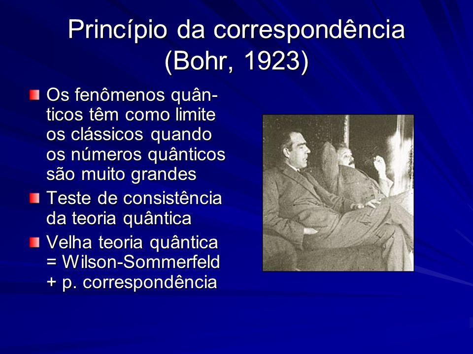 Princípio da correspondência (Bohr, 1923) Os fenômenos quân- ticos têm como limite os clássicos quando os números quânticos são muito grandes Teste de