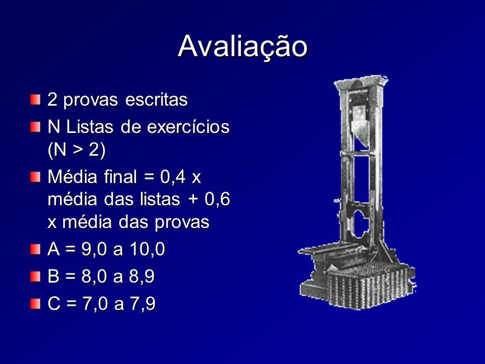 Avaliação 2 provas escritas N Listas de exercícios (N > 2) Média final = 0,4 x média das listas + 0,6 x média das provas A = 9,0 a 10,0 B = 8,0 a 8,9