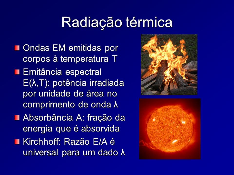 Radiação térmica Ondas EM emitidas por corpos à temperatura T Emitância espectral E(λ,T): potência irradiada por unidade de área no comprimento de ond