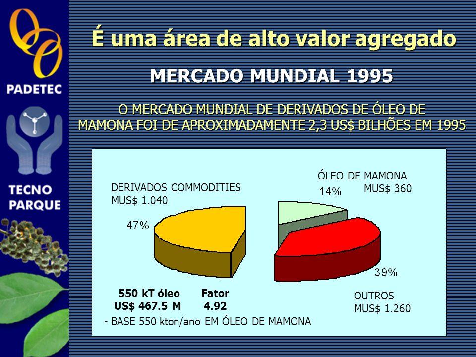 É uma área de alto valor agregado 550 kT óleo US$ 467.5 M Fator 4.92 MERCADO MUNDIAL 1995 O MERCADO MUNDIAL DE DERIVADOS DE ÓLEO DE MAMONA FOI DE APRO