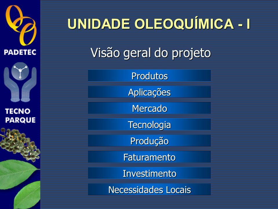 Visão geral do projeto UNIDADE OLEOQUÍMICA - I Produtos Aplicações Mercado Produção Faturamento Investimento Necessidades Locais Necessidades Locais T