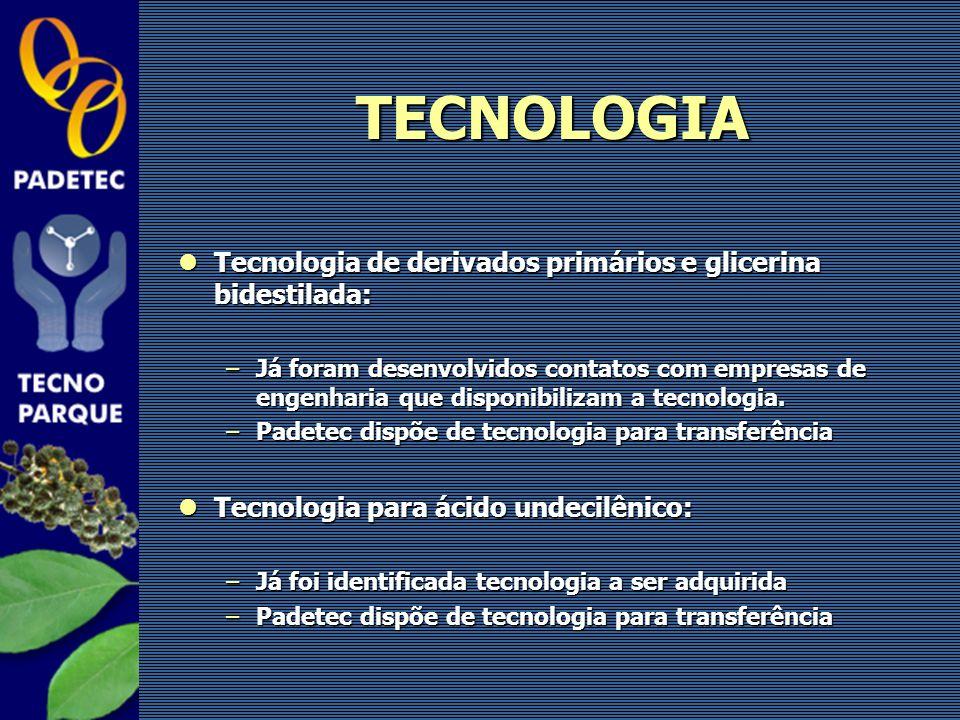 TECNOLOGIA Tecnologia de derivados primários e glicerina bidestilada: Tecnologia de derivados primários e glicerina bidestilada: –Já foram desenvolvid