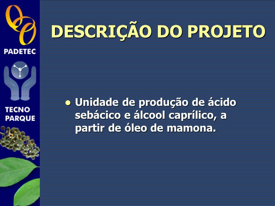 DESCRIÇÃO DO PROJETO Unidade de produção de ácido sebácico e álcool caprílico, a partir de óleo de mamona. Unidade de produção de ácido sebácico e álc