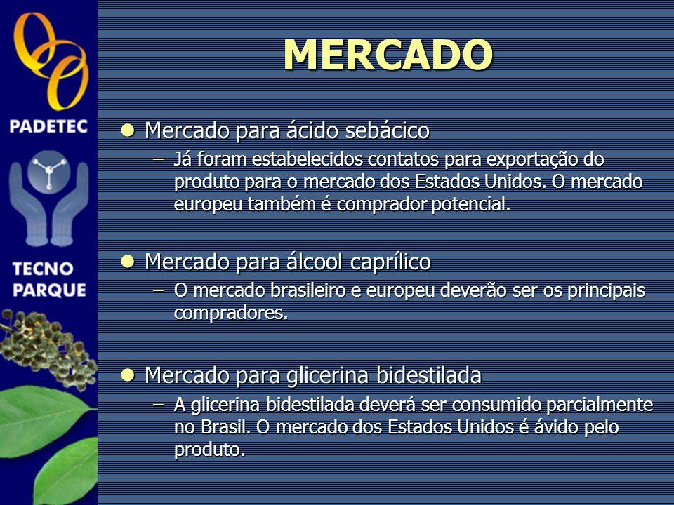 Mercado para ácido sebácico Mercado para ácido sebácico –Já foram estabelecidos contatos para exportação do produto para o mercado dos Estados Unidos.