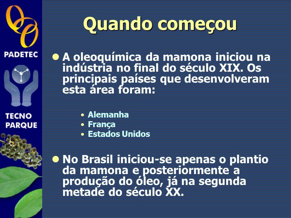 Quando começou A oleoquímica da mamona iniciou na indústria no final do século XIX. Os principais países que desenvolveram esta área foram: Alemanha F