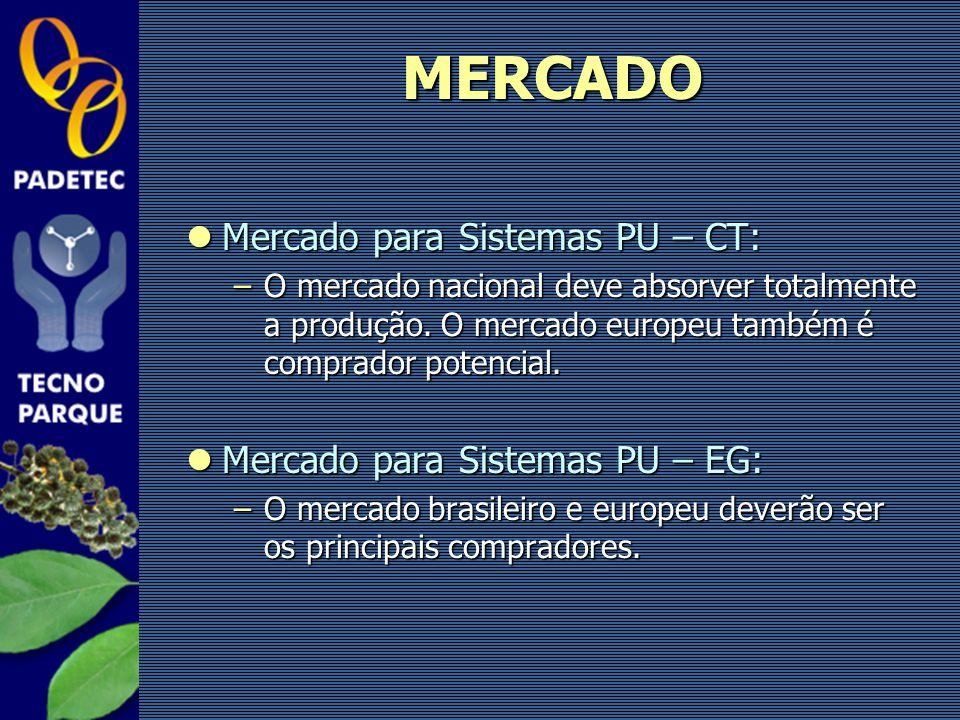 Mercado para Sistemas PU – CT: Mercado para Sistemas PU – CT: –O mercado nacional deve absorver totalmente a produção. O mercado europeu também é comp