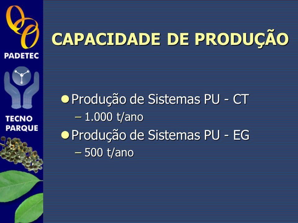 Produção de Sistemas PU - CT Produção de Sistemas PU - CT –1.000 t/ano Produção de Sistemas PU - EG Produção de Sistemas PU - EG –500 t/ano CAPACIDADE