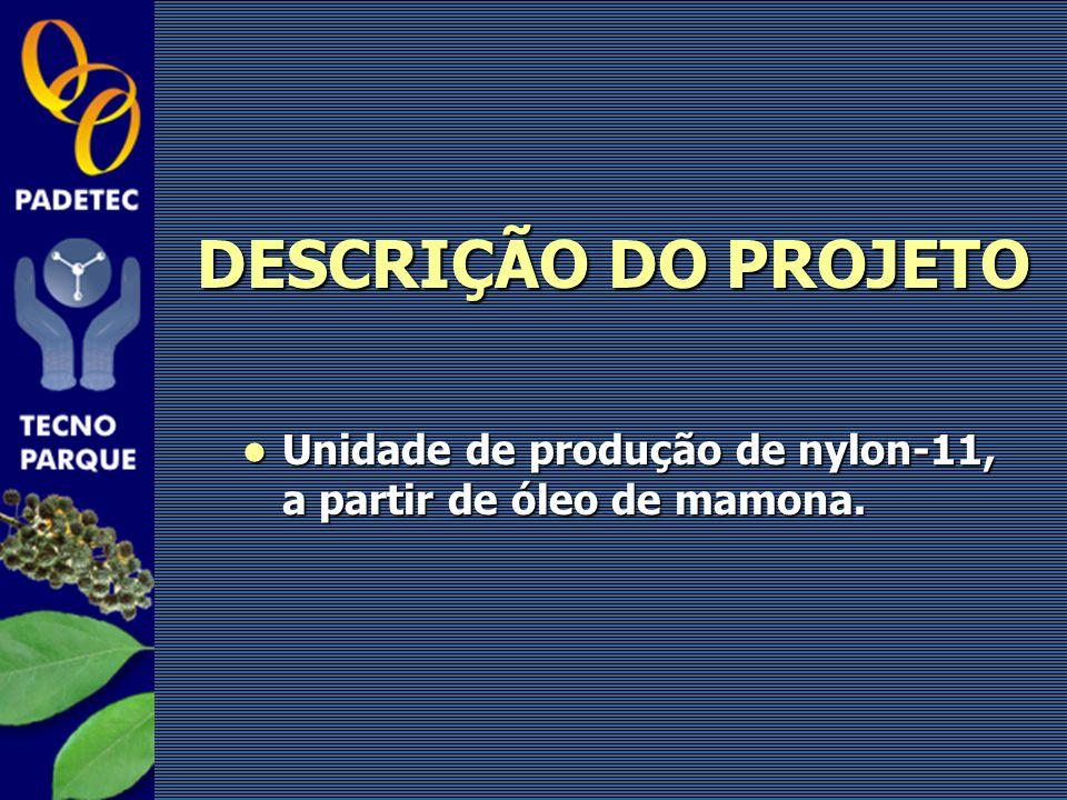 Unidade de produção de nylon-11, a partir de óleo de mamona. Unidade de produção de nylon-11, a partir de óleo de mamona. DESCRIÇÃO DO PROJETO