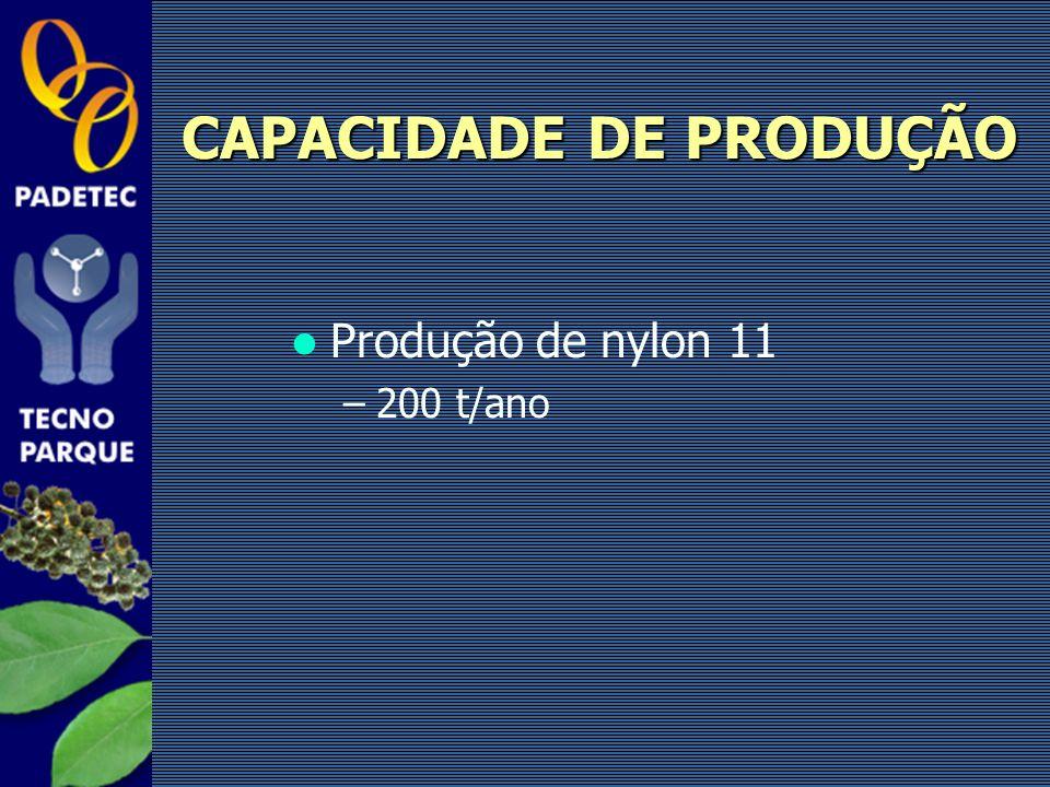 Produção de nylon 11 –200 t/ano CAPACIDADE DE PRODUÇÃO