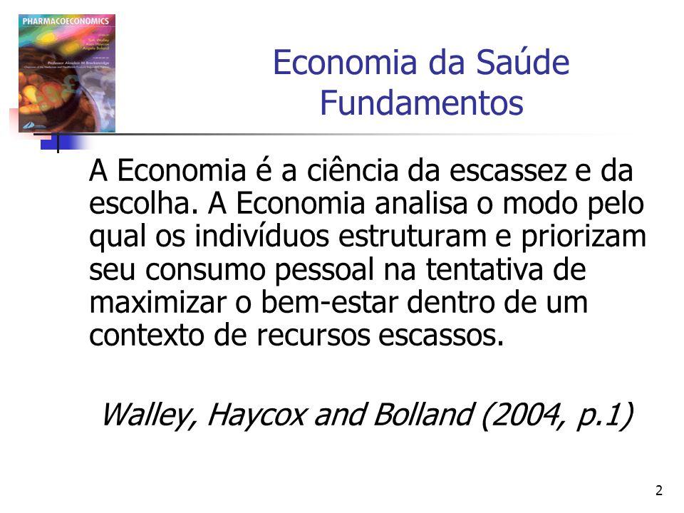 23 Avaliação Econômica A avaliação econômica se centra na identificação, medição ou valorização dos efeitos que se supõe tenham uma relação direta com o bem-estar da sociedade.