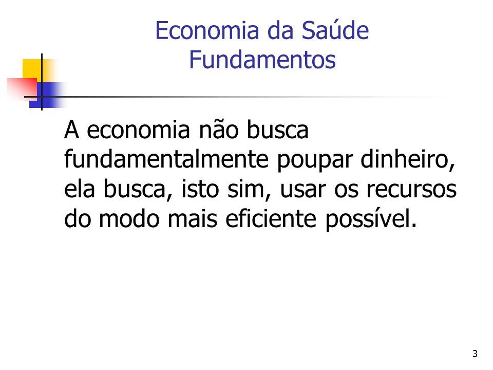 14 Economia da Saúde A Economia da Saúde a aplicação dos métodos de análise econômica aos cuidados médicos e é usada para ajudar os tomadores de decisão nas escolhas que fazem.
