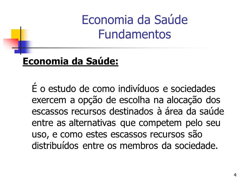 5 Economia da Saúde Fundamentos Economia da Saúde é o campo de conhecimento voltado para o desenvolvimento e uso de ferramentas de economia na análise, formulação e implementação das políticas de saúde.