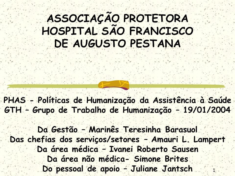 2 Histórico Fundação em 1939 Inauguração em 1943 do 1º pavimento Clínica médica e pediátrica em 1945 Maternidade e bloco cirúrgico (1950) Ampliação em 1964 Filantropia em 1996 Habilitado ao Programa Nacional de Atenção Comunitária Integrada a Usuários de Álcool e outras Drogas em 2003
