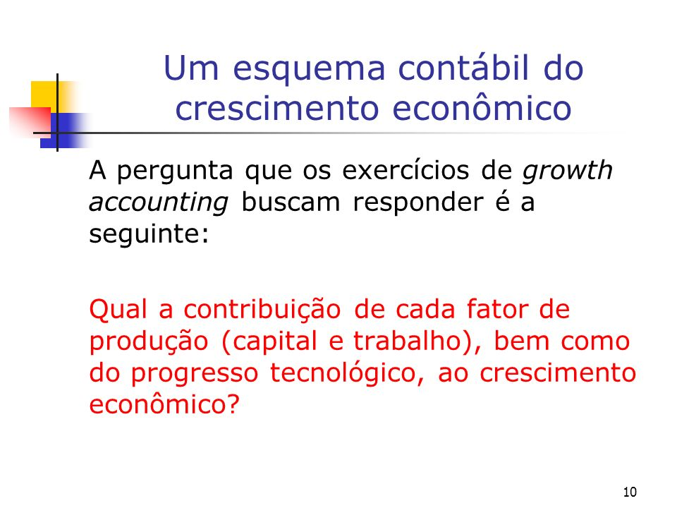 10 Um esquema contábil do crescimento econômico A pergunta que os exercícios de growth accounting buscam responder é a seguinte: Qual a contribuição d
