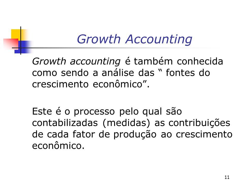 11 Growth Accounting Growth accounting é também conhecida como sendo a análise das fontes do crescimento econômico. Este é o processo pelo qual são co