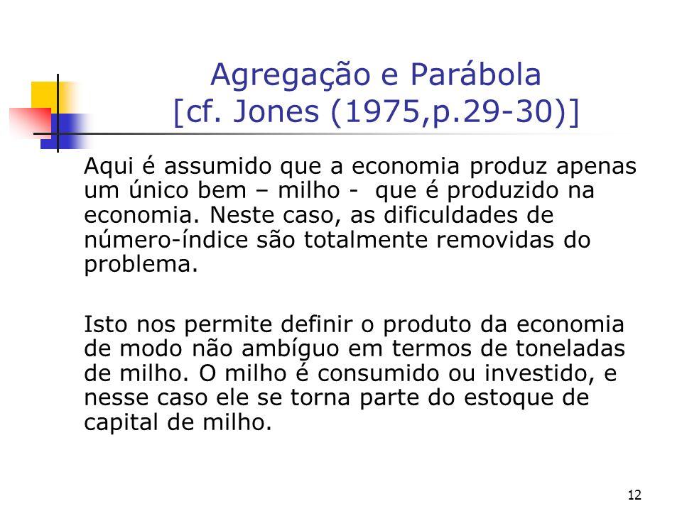 12 Agregação e Parábola [cf. Jones (1975,p.29-30)] Aqui é assumido que a economia produz apenas um único bem – milho - que é produzido na economia. Ne