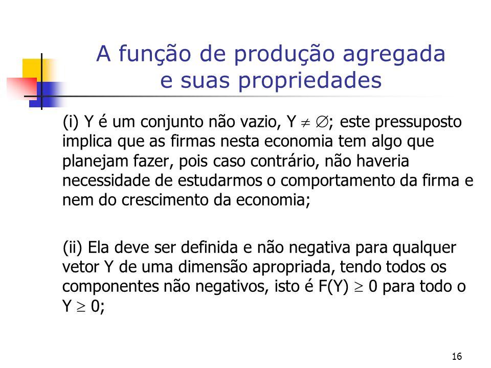 16 A função de produção agregada e suas propriedades (i) Y é um conjunto não vazio, Y ; este pressuposto implica que as firmas nesta economia tem algo