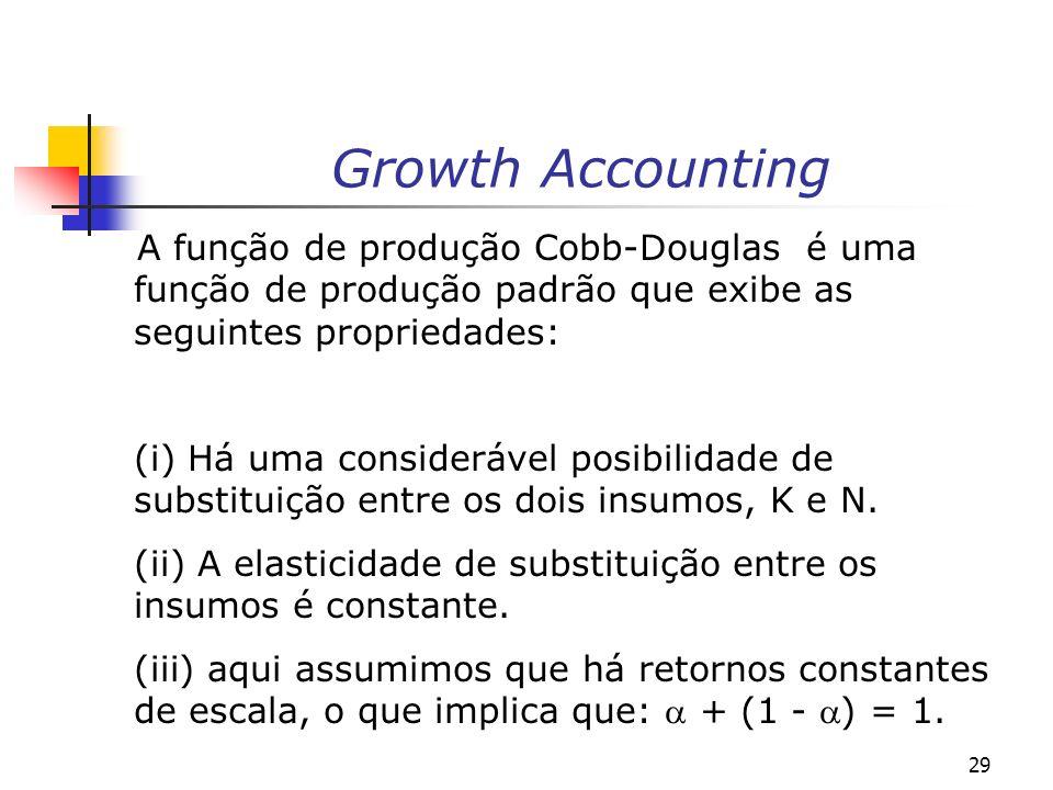 29 Growth Accounting A função de produção Cobb-Douglas é uma função de produção padrão que exibe as seguintes propriedades: (i) Há uma considerável po