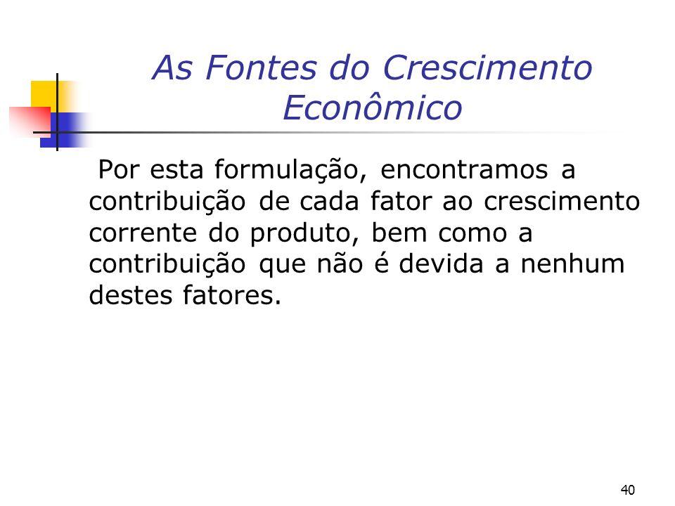 40 As Fontes do Crescimento Econômico Por esta formulação, encontramos a contribuição de cada fator ao crescimento corrente do produto, bem como a con