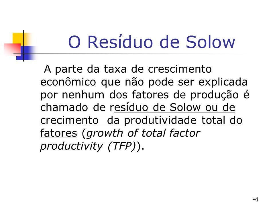 41 O Resíduo de Solow A parte da taxa de crescimento econômico que não pode ser explicada por nenhum dos fatores de produção é chamado de resíduo de S