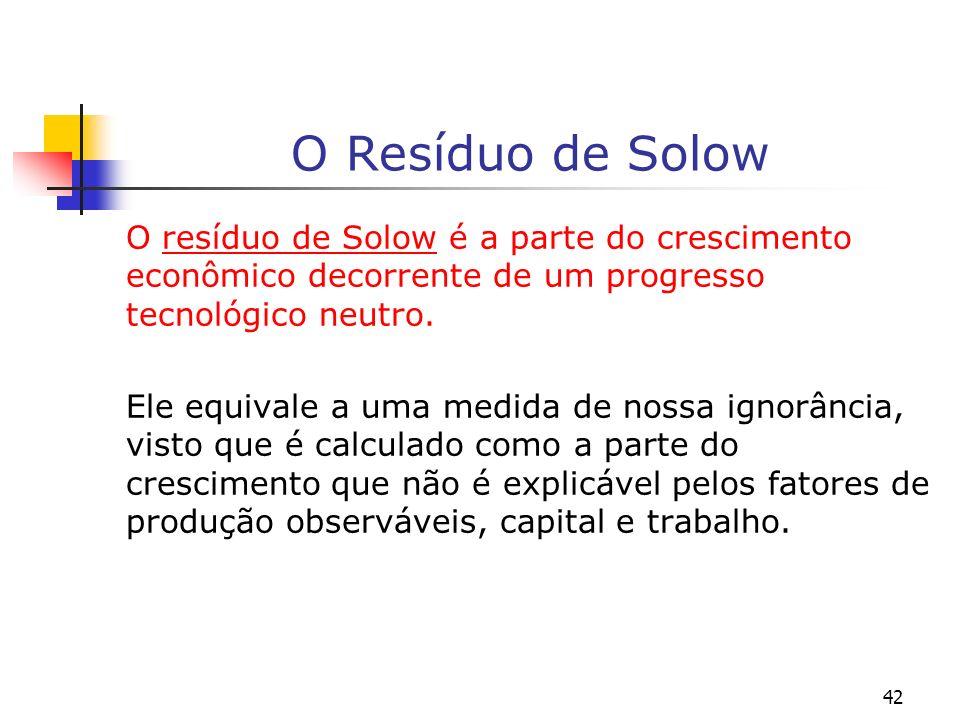 42 O Resíduo de Solow O resíduo de Solow é a parte do crescimento econômico decorrente de um progresso tecnológico neutro. Ele equivale a uma medida d