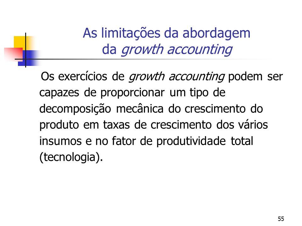 55 As limitações da abordagem da growth accounting Os exercícios de growth accounting podem ser capazes de proporcionar um tipo de decomposição mecâni