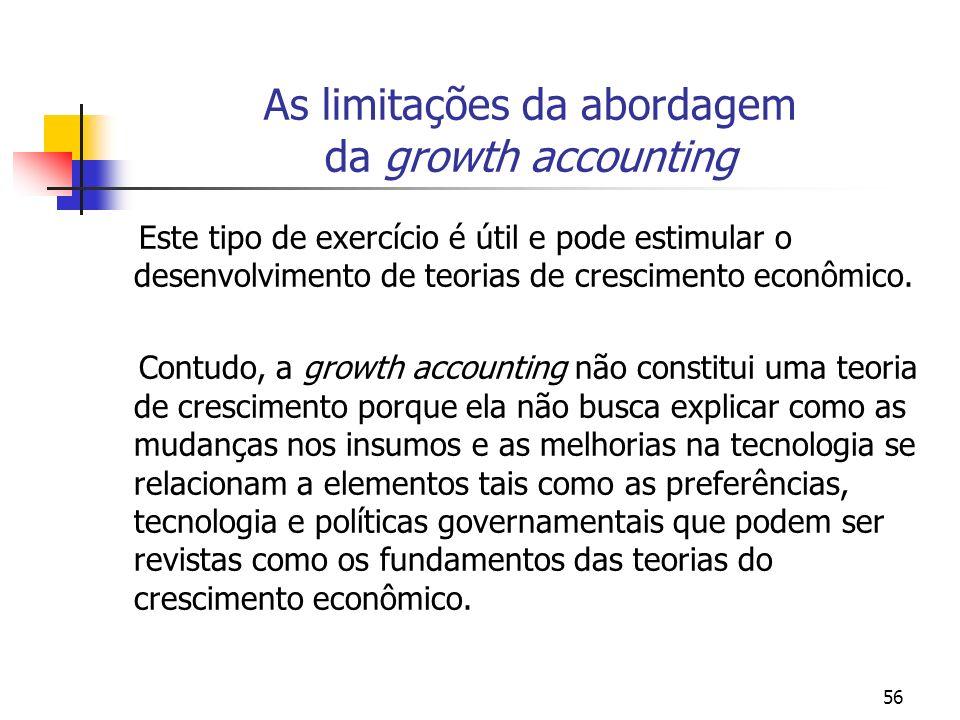 56 As limitações da abordagem da growth accounting Este tipo de exercício é útil e pode estimular o desenvolvimento de teorias de crescimento econômic