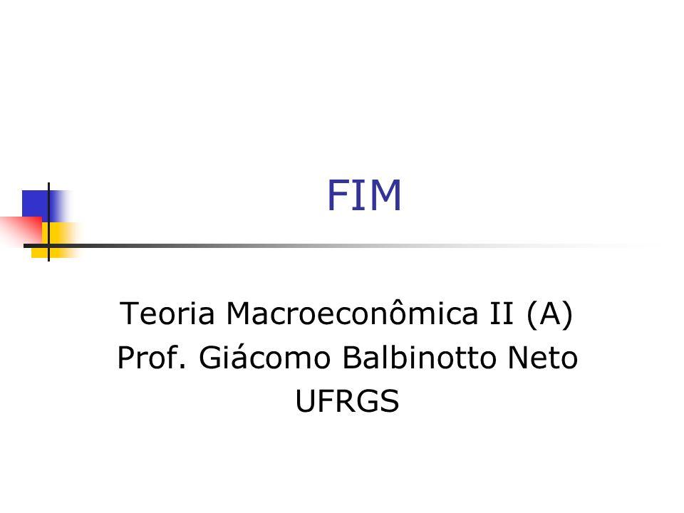 FIM Teoria Macroeconômica II (A) Prof. Giácomo Balbinotto Neto UFRGS