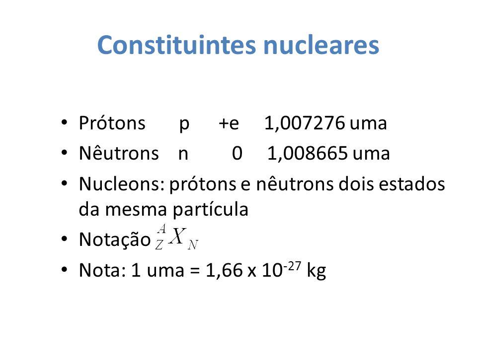 Constituintes nucleares Prótons p +e 1,007276 uma Nêutrons n 0 1,008665 uma Nucleons: prótons e nêutrons dois estados da mesma partícula Notação Nota: 1 uma = 1,66 x 10 -27 kg
