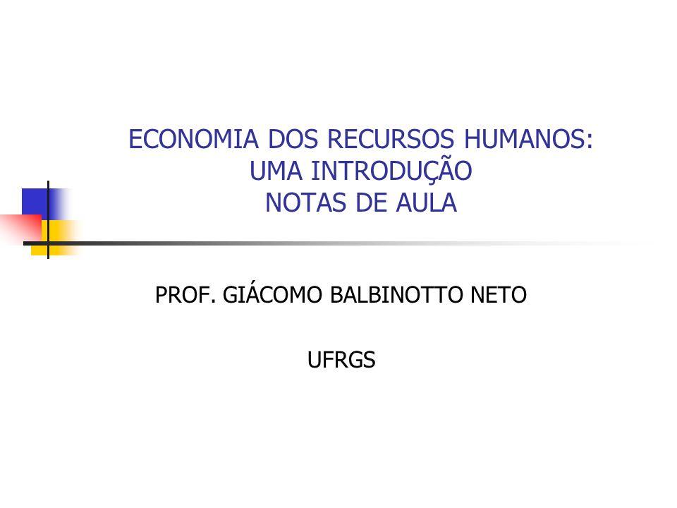 ECONOMIA DOS RECURSOS HUMANOS: UMA INTRODUÇÃO NOTAS DE AULA PROF. GIÁCOMO BALBINOTTO NETO UFRGS
