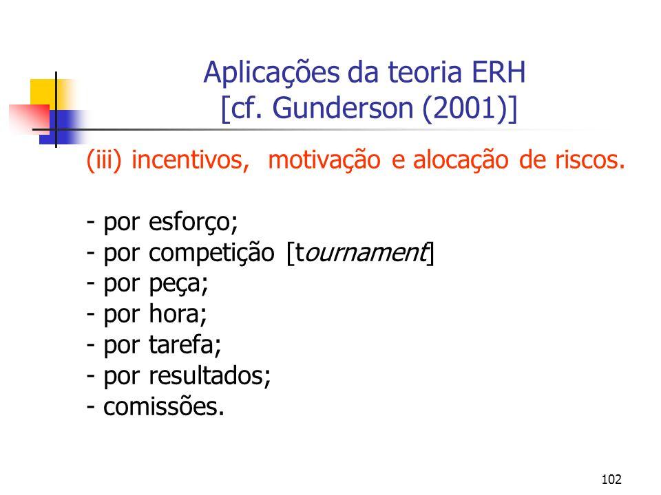 102 Aplicações da teoria ERH [cf. Gunderson (2001)] (iii) incentivos, motivação e alocação de riscos. - por esforço; - por competição [tournament] - p