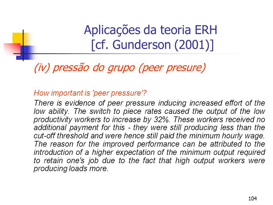 104 Aplicações da teoria ERH [cf. Gunderson (2001)] (iv) pressão do grupo (peer presure) How important is 'peer pressure'? There is evidence of peer p