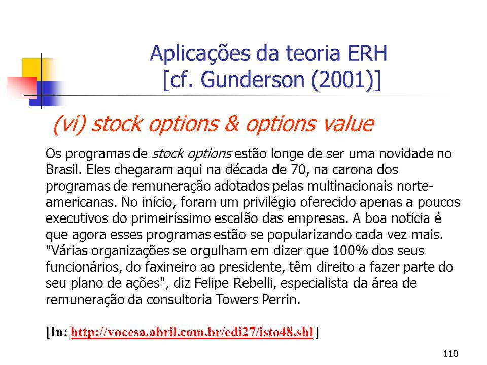 110 Aplicações da teoria ERH [cf. Gunderson (2001)] (vi) stock options & options value Os programas de stock options estão longe de ser uma novidade n