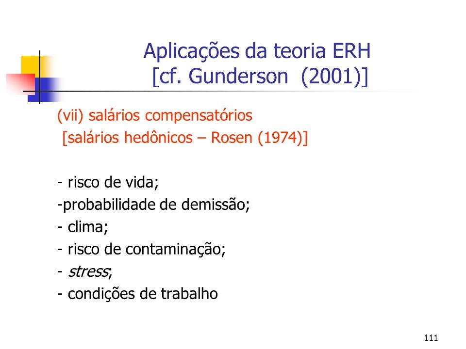 111 Aplicações da teoria ERH [cf. Gunderson (2001)] (vii) salários compensatórios [salários hedônicos – Rosen (1974)] - risco de vida; -probabilidade