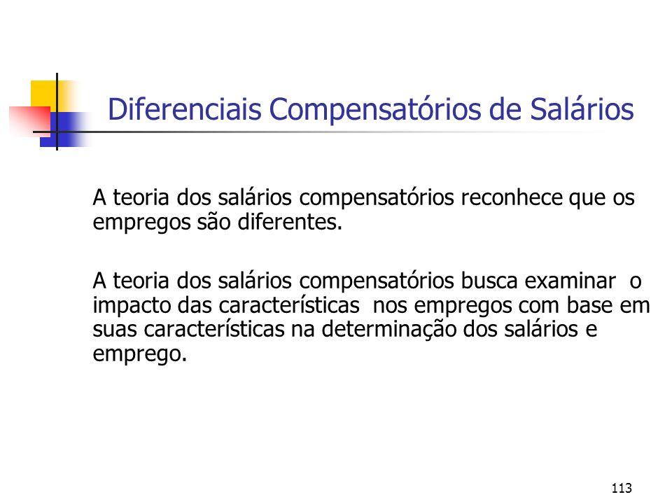113 Diferenciais Compensatórios de Salários A teoria dos salários compensatórios reconhece que os empregos são diferentes. A teoria dos salários compe