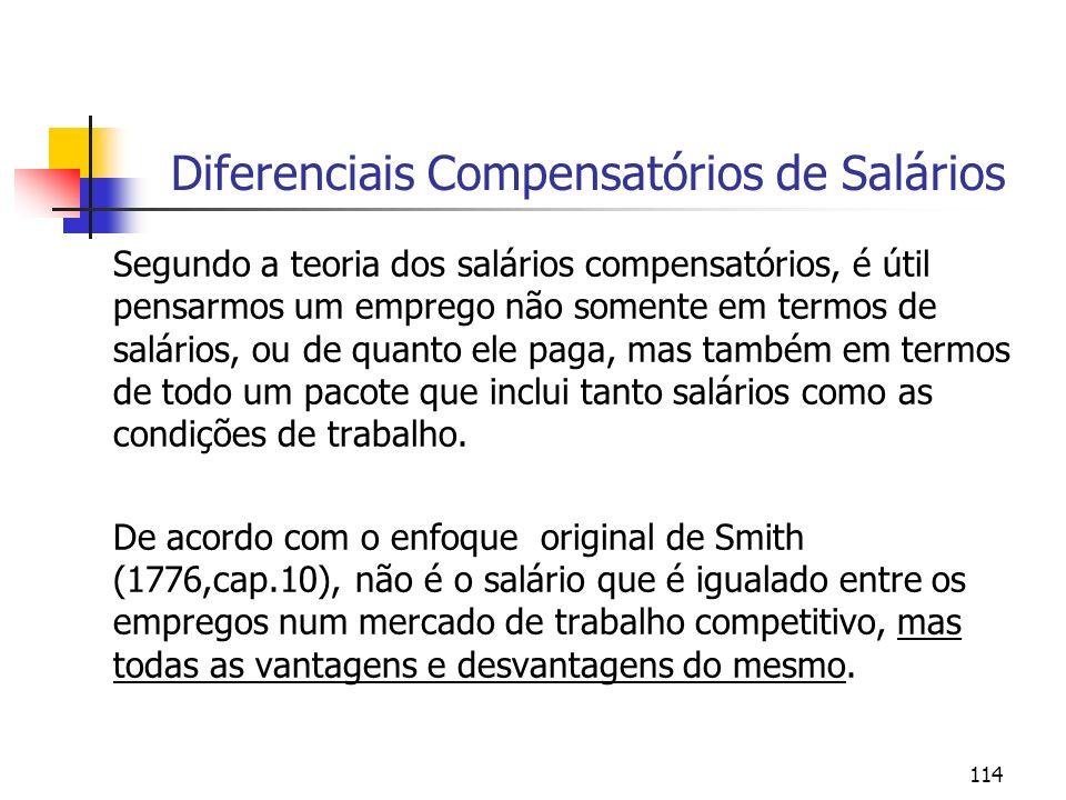 114 Segundo a teoria dos salários compensatórios, é útil pensarmos um emprego não somente em termos de salários, ou de quanto ele paga, mas também em