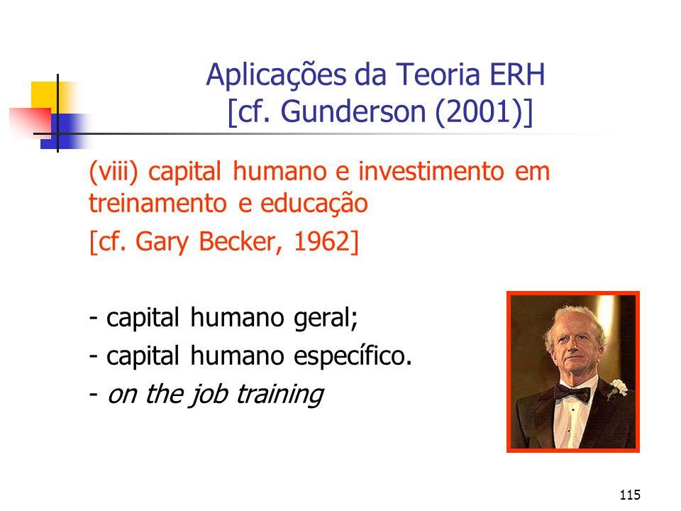 115 Aplicações da Teoria ERH [cf. Gunderson (2001)] (viii) capital humano e investimento em treinamento e educação [cf. Gary Becker, 1962] - capital h