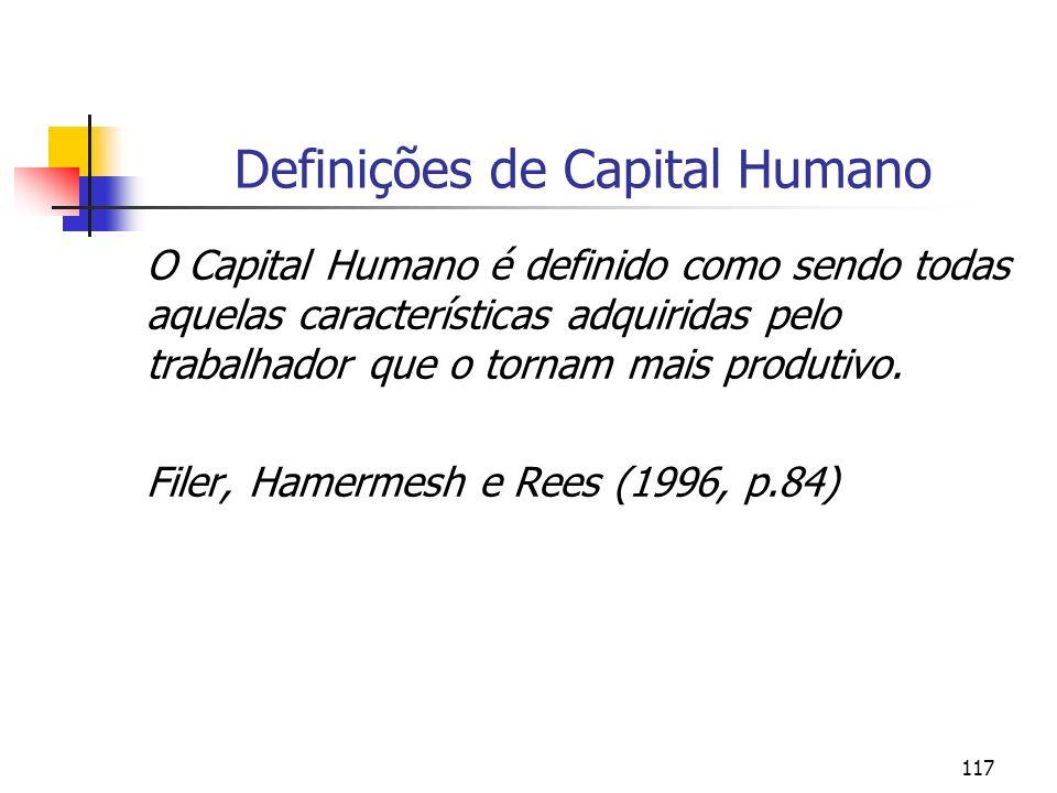 117 Definições de Capital Humano O Capital Humano é definido como sendo todas aquelas características adquiridas pelo trabalhador que o tornam mais pr