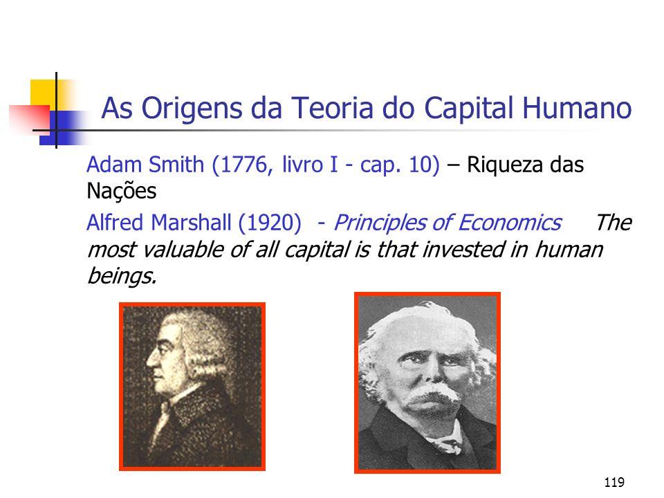 119 As Origens da Teoria do Capital Humano Adam Smith (1776, livro I - cap. 10) – Riqueza das Nações Alfred Marshall (1920) - Principles of Economics