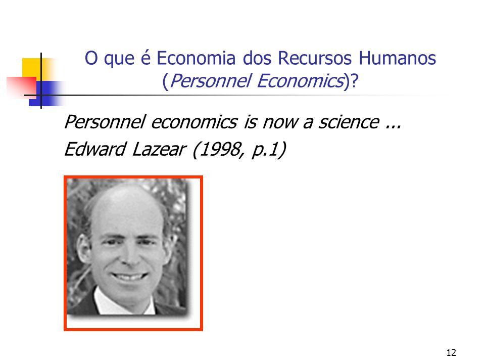 12 O que é Economia dos Recursos Humanos (Personnel Economics)? Personnel economics is now a science... Edward Lazear (1998, p.1)