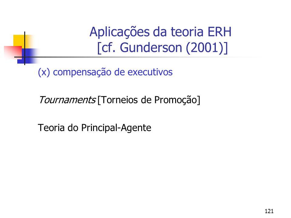 121 Aplicações da teoria ERH [cf. Gunderson (2001)] (x) compensação de executivos Tournaments [Torneios de Promoção] Teoria do Principal-Agente