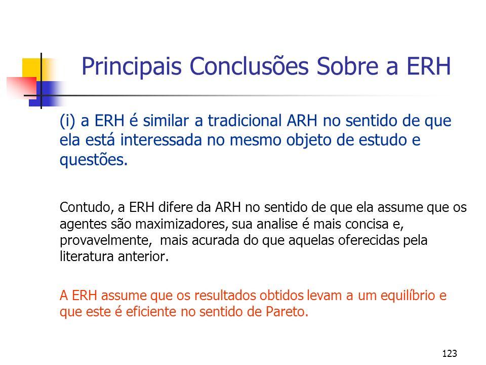 123 Principais Conclusões Sobre a ERH (i) a ERH é similar a tradicional ARH no sentido de que ela está interessada no mesmo objeto de estudo e questõe