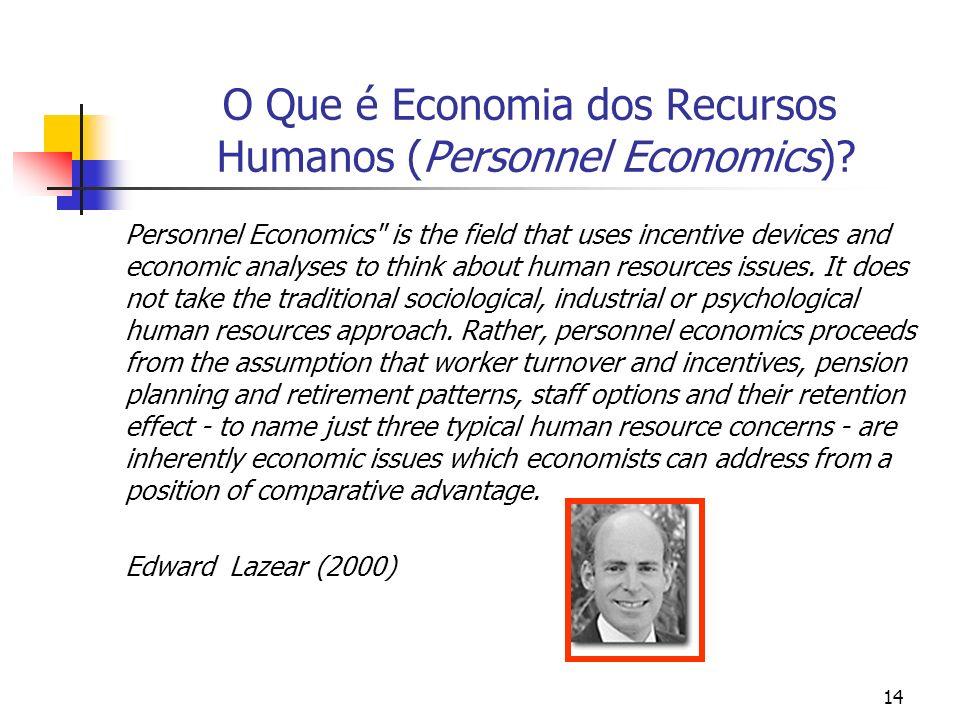 14 O Que é Economia dos Recursos Humanos (Personnel Economics)? Personnel Economics