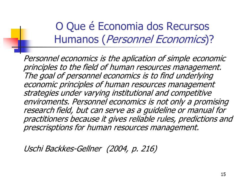 15 O Que é Economia dos Recursos Humanos (Personnel Economics)? Personnel economics is the aplication of simple economic principles to the field of hu