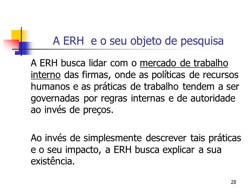 28 A ERH e o seu objeto de pesquisa A ERH busca lidar com o mercado de trabalho interno das firmas, onde as políticas de recursos humanos e as prática