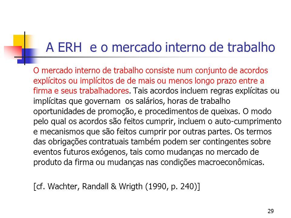 29 A ERH e o mercado interno de trabalho O mercado interno de trabalho consiste num conjunto de acordos explícitos ou implícitos de de mais ou menos l